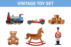 Vintage toy realistic icons set