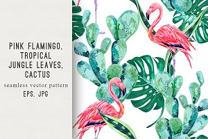 Tropical leaves,cactus pattern