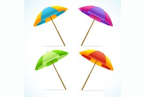 Vector Beach Umbrella Set