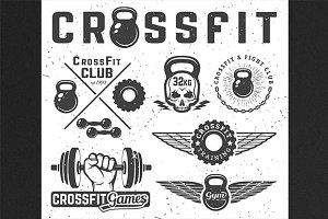 Set of monochrome fitness emblems