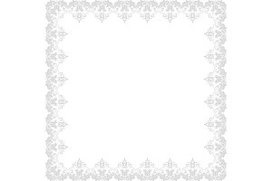Floral Vector Frame. Abstract Silver