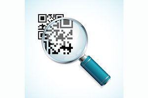 Vector magnifier with qr, barcode