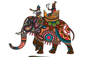 Indian Elephant with Maharaja