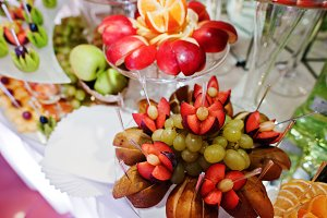Different delicious fruits on weddin