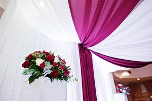 Wedding flowers of white and red ros