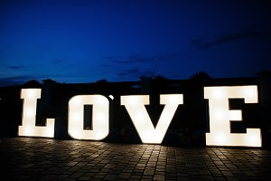 Great big letter word LOVE with ligh