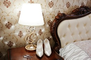 Elegancy wedding shoes of bride with
