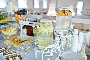 Fresh fruits lemonade on wedding rec