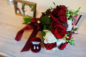 Wedding bouquet of red and white ros