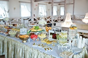 Wedding reception, sweets and fruits