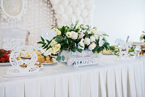 Flowers on wedding table of newlywed