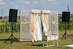 Wedding arch, white carpet with smal