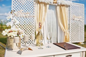 Table of newlyweds with champagne gl