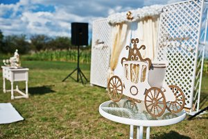 Golden decorative chariot on wedding