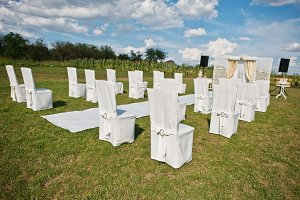 Wedding chair, white carpet with sma