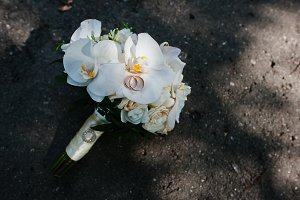 Elegant wedding bouquet of white orc
