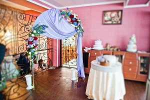 Wedding arch and table with present