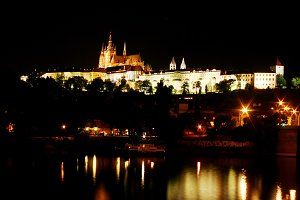 Prague Castle on the river bank
