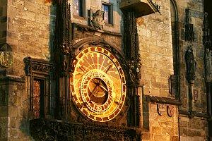 Unique clock on gothic tower. Prague