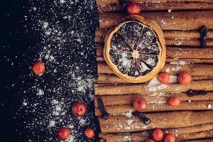 Holiday background with dried lemon
