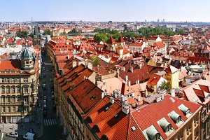 Rooftops and streets of Prague