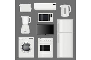 Home appliances realistic. Modern