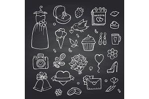 Vector doodle wedding elements set