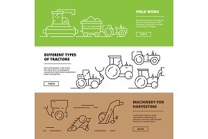 Agriculture banners. Farm machinery
