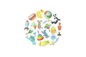 Vector cartoon children toys in