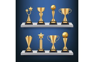 Awards shelves. Trophies medals and