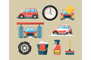 Car wash icon set. Foam roller