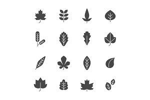 Black leaves. Vector symbols of