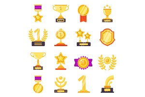 Awards icons. Trophy medal prize