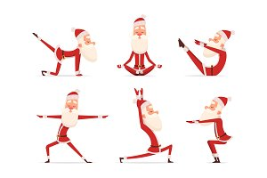 Santa yoga relax. Winter cute
