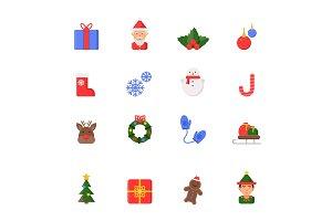 Christmas flat icons. Winter