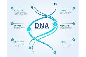 Dna infographics. Spiral human