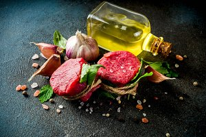Raw beef fillet steaks mignon