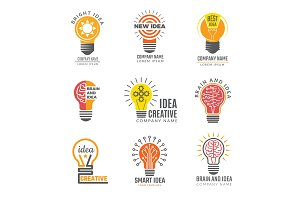 Ideas bulb logotypes. Colorful