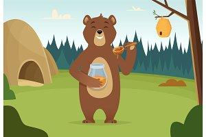 Brown bear with honey vector cartoon