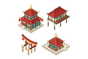 Asian buildings isometric. Chinese