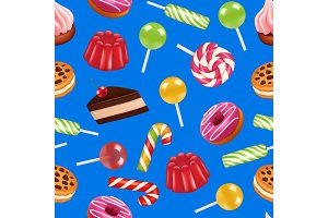 Vector realistic sweet candy pattern