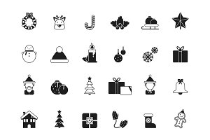 Christmas icons. Bells and santa