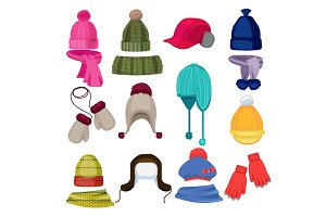 Winter hat cartoon. Headwear cap