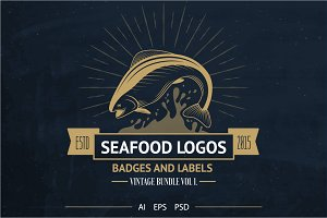 Seafood Logos, Badges & Labels+Bonus