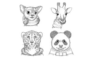 Fashion animals. Hand drawn hipster