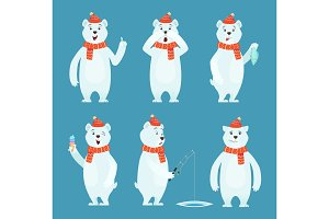 Polar bear cartoon. Ice snow white