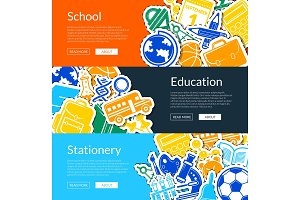 Vector back to school stationery web