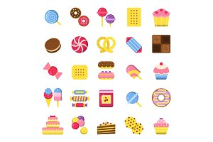 Sweets and pie icons. Pancakes