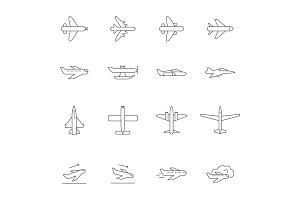 Airplane outline icons. Airline