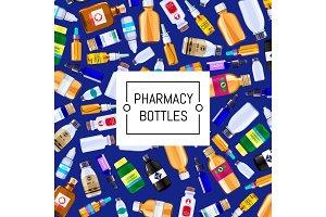 Vector pharmacy medicine bottles set